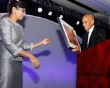 Sharon Scott-Chandler-VP/COO and Harry Belafonte -Artist & Social Activist during ABCD Community Heroes Celebration at Boston Marriott Copley Place on November 4, 2016. CREDIT/ CHRIS ADUAMA.