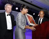 John Drew, Sharon Scott-Chandler-VP/COO and Harry Belafonte -Artist & Social Activist during ABCD Community Heroes Celebration at Boston Marriott Copley Place on November 4, 2016. CREDIT/ CHRIS ADUAMA.