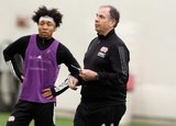 Isaac Angking (5), Head Coach Bruce Arena during New England Revolution first 2020 Training Session at the Field House Gillette Stadium in Foxboro, MA on Monday, January 20, 2020. CREDIT/ CHRIS ADUAMA.