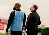 Andrew Farrell (2), Head Coach Bruce Arena during New England Revolution first 2020 Training Session at the Field House Gillette Stadium in Foxboro, MA on Monday, January 20, 2020. CREDIT/ CHRIS ADUAMA.