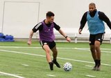 Diego Fagundez (14), Andrew Farrell (2) during New England Revolution first 2020 Training Session at the Field House Gillette Stadium in Foxboro, MA on Monday, January 20, 2020. CREDIT/ CHRIS ADUAMA.