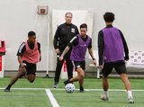DeJuan Jones, Head Coach Bruce Arena, Diego Fagundez (14) during New England Revolution first 2020 Training Session at the Field House Gillette Stadium in Foxboro, MA on Monday, January 20, 2020. CREDIT/ CHRIS ADUAMA.