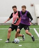 Kelyn Rowe (11), Scott Caldwell (6) during New England Revolution first 2020 Training Session at the Field House Gillette Stadium in Foxboro, MA on Monday, January 20, 2020. CREDIT/ CHRIS ADUAMA.