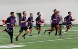 Players jogging during New England Revolution first 2020 Training Session at the Field House Gillette Stadium in Foxboro, MA on Monday, January 20, 2020. CREDIT/ CHRIS ADUAMA.