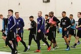 Brad Knighton - GK and team mates during New England Revolution first 2020 Training Session at the Field House Gillette Stadium in Foxboro, MA on Monday, January 20, 2020. CREDIT/ CHRIS ADUAMA.