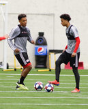 Juan Agudelo (17) and Tajon Buchanan (11) during New England Revolution pre-season training in Empower Field House at Gillette Stadium in Foxboro, MA on Monday, February 11, 2019. CREDIT/ CHRIS ADUAMA