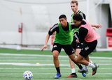 Damian Rivera, Henry Kessler, Tajon Buchanan (11) during New England Revolution 2020 Pre-Season Training Session at the Field House- Gillette Stadium in Foxboro, MA on Friday, January 31, 2020. CREDIT/ CHRIS ADUAMA.