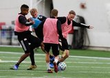 Michael Mancienne (28), Adam Buksa, Alexander Buttner during New England Revolution 2020 Pre-Season Training Session at the Field House- Gillette Stadium in Foxboro, MA on Friday, January 31, 2020. CREDIT/ CHRIS ADUAMA.