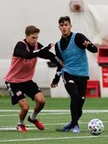 Scott Caldwell (6), Nicolas Firmino (29) during New England Revolution 2020 Pre-Season Training Session at the Field House- Gillette Stadium in Foxboro, MA on Friday, January 31, 2020. CREDIT/ CHRIS ADUAMA.