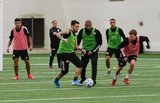 Gustavo Bou (7), Diego Fagundez (14), Andrew Farrell (2), Brandon Bye (15), Scott Caldwell (6) during New England Revolution 2020 Pre-Season Training Session at the Field House- Gillette Stadium in Foxboro, MA on Friday, January 31, 2020. CREDIT/ CHRIS ADUAMA.