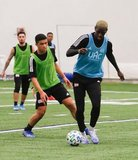Wilfried Zahibo (23), Damian Rivera during New England Revolution 2020 Pre-Season Training Session at the Field House- Gillette Stadium in Foxboro, MA on Friday, January 31, 2020. CREDIT/ CHRIS ADUAMA.