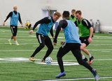 Adam Buksa, Henry Kessler during New England Revolution 2020 Pre-Season Training Session at the Field House- Gillette Stadium in Foxboro, MA on Friday, January 31, 2020. CREDIT/ CHRIS ADUAMA.