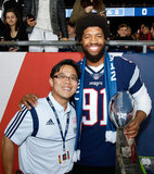 N.E. Patriots Deatrich Wise Jr. (91) DL and Doctor Luke Oh at New England Revolution and Atlanta United FC MLS match at Gillette Stadium in Foxboro, MA on Saturday, April 13, 2019. Atlanta United won 2-0. CREDIT/ CHRIS ADUAMA
