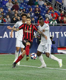 Franco  Escobar (2), Juan Fernando Caicedo (9) during Revolution and Atlanta United FC MLS match at Gillette Stadium in Foxboro, MA on Saturday, April 13, 2019. Atlanta United won 2-0. CREDIT/ CHRIS ADUAMA