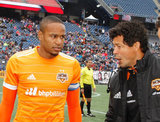 Coach Wilmer Cabrera, Ricardo Clark (13) before New England Revolution and Houston Dynamo MLS match at Gillette Stadium in Foxboro, MA on Saturday, April 8, 2017.  Revs won 2-0 CREDIT/ CHRIS ADUAMA