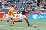 Eric Alexander (6) and Juan Agudelo (17) during New England Revolution and Houston Dynamo MLS match at Gillette Stadium in Foxboro, MA on Saturday, April 8, 2017.  Revs won 2-0 CREDIT/ CHRIS ADUAMA