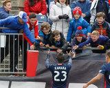 Kei Kamara (23) during New England Revolution and Houston Dynamo MLS match at Gillette Stadium in Foxboro, MA on Saturday, April 8, 2017.  Revs won 2-0 CREDIT/ CHRIS ADUAMA