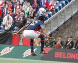 Xavier Kouassi (12) during New England Revolution and Houston Dynamo MLS match at Gillette Stadium in Foxboro, MA on Saturday, April 8, 2017.  Revs won 2-0 CREDIT/ CHRIS ADUAMA