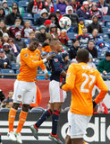 Jalil Anibaba (2) and Juan Agudelo (17) during New England Revolution and Houston Dynamo MLS match at Gillette Stadium in Foxboro, MA on Saturday, April 8, 2017.  Revs won 2-0 CREDIT/ CHRIS ADUAMA