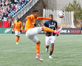 Mauro Manotas (19) during New England Revolution and Houston Dynamo MLS match at Gillette Stadium in Foxboro, MA on Saturday, April 8, 2017.  Revs won 2-0 CREDIT/ CHRIS ADUAMA