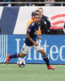 Edgar Castillo (8) during New England Revolution and FC Cincinnati MLS match at Gillette Stadium in Foxboro, MA on Sunday, March 24, 2019. The match ended in 2-0 win for FC Cincinnati. CREDIT/ CHRIS ADUAMA