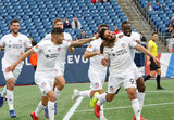 Kenny Saief (93) celebrates goal with team mates during New England Revolution and FC Cincinnati MLS match at Gillette Stadium in Foxboro, MA on Sunday, March 24, 2019. The match ended in 2-0 win for FC Cincinnati. CREDIT/ CHRIS ADUAMA