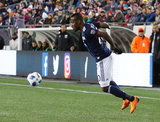 Cristian Penilla (70) during New England Revolution and FC Dallas MLS match at Gillette Stadium in Foxboro, MA on Saturday, April 14, 2018. Revs lost 0-1. CREDIT/ CHRIS ADUAMA