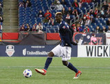 Wilfried Zahibo (23) during New England Revolution and FC Dallas MLS match at Gillette Stadium in Foxboro, MA on Saturday, April 14, 2018. Revs lost 0-1. CREDIT/ CHRIS ADUAMA