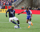 Wilfried Zahibo (23), Carlos Gruezo (7) during New England Revolution and FC Dallas MLS match at Gillette Stadium in Foxboro, MA on Saturday, April 14, 2018. Revs lost 0-1. CREDIT/ CHRIS ADUAMA