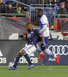 Roland Lamah (20), Andrew Farrell (2) during New England Revolution and FC Dallas MLS match at Gillette Stadium in Foxboro, MA on Saturday, April 14, 2018. Revs lost 0-1. CREDIT/ CHRIS ADUAMA