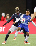 Wilfried Zahibo (23) and Jacori Hayes (15) during New England Revolution and FC Dallas MLS match at Gillette Stadium in Foxboro, MA on Saturday, April 14, 2018. Revs lost 0-1. CREDIT/ CHRIS ADUAMA