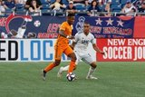 Romell Quioto (31), Brandon Bye (15) during New England Revolution and Houston Dynamo MLS match at Gillette Stadium in Foxboro, MA on Saturday, June 29, 2019.  Revs won 2-1. CREDIT/CHRIS ADUAMA