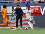 DeJuan Jones (24) during New England Revolution and Houston Dynamo MLS match at Gillette Stadium in Foxboro, MA on Saturday, June 29, 2019.  Revs won 2-1. CREDIT/CHRIS ADUAMA