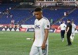 Juan Agudelo (17) during New England Revolution and Houston Dynamo MLS match at Gillette Stadium in Foxboro, MA on Saturday, June 29, 2019.  Revs won 2-1. CREDIT/CHRIS ADUAMA