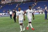 DeJuan Jones (24), Jalil Anibaba (3) during New England Revolution and Houston Dynamo MLS match at Gillette Stadium in Foxboro, MA on Saturday, June 29, 2019.  Revs won 2-1. CREDIT/CHRIS ADUAMA