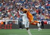 Juan Fernando Caicedo (9), Alejandro Fuenmayor (2) during New England Revolution and Houston Dynamo MLS match at Gillette Stadium in Foxboro, MA on Saturday, June 29, 2019.  Revs won 2-1. CREDIT/CHRIS ADUAMA