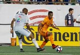 Andrew Farrell (2), Mauro Manotas (9) during New England Revolution and Houston Dynamo MLS match at Gillette Stadium in Foxboro, MA on Saturday, June 29, 2019.  Revs won 2-1. CREDIT/CHRIS ADUAMA