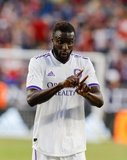 Lamine Sane (22) during New England Revolution and Orlando City SC MLS match at Gillette Stadium in Foxboro, MA on Saturday, July 27, 2019.  Revs won 4-1. CREDIT/CHRIS ADUAMA