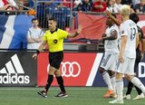 Referee Rubiel Vazquez during New England Revolution and Los Angeles Football Club MLS match at Gillette Stadium in Foxboro, MA on Saturday, August 3, 2019. LAFC won 2-0. CREDIT/CHRIS ADUAMA
