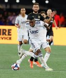 Luis Caicedo (27), Diego Rossi (9) during New England Revolution and Los Angeles Football Club MLS match at Gillette Stadium in Foxboro, MA on Saturday, August 3, 2019. LAFC won 2-0. CREDIT/CHRIS ADUAMA