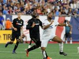 Adama Diomande (99), Andrew Farrell (2) during New England Revolution and Los Angeles Football Club MLS match at Gillette Stadium in Foxboro, MA on Saturday, August 3, 2019. LAFC won 2-0. CREDIT/CHRIS ADUAMA