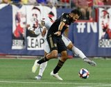 Gustavo Bou (7), Steven Beitashour (3) during New England Revolution and Los Angeles Football Club MLS match at Gillette Stadium in Foxboro, MA on Saturday, August 3, 2019. LAFC won 2-0. CREDIT/CHRIS ADUAMA