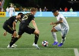 Gustavo Bou (7), Walker Zimmerman (25) during New England Revolution and Los Angeles Football Club MLS match at Gillette Stadium in Foxboro, MA on Saturday, August 3, 2019. LAFC won 2-0. CREDIT/CHRIS ADUAMA