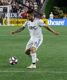Diego Fagundez (14) during New England Revolution and Los Angeles Football Club MLS match at Gillette Stadium in Foxboro, MA on Saturday, August 3, 2019. LAFC won 2-0. CREDIT/CHRIS ADUAMA
