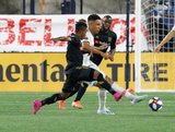 Latif Blessing (7), Juan Agudelo (17) during New England Revolution and Los Angeles Football Club MLS match at Gillette Stadium in Foxboro, MA on Saturday, August 3, 2019. LAFC won 2-0. CREDIT/CHRIS ADUAMA
