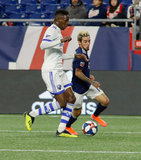 Zakaria Diallo (5), Diego Fagundez (14) during New England Revolution and Montreal Impact MLS match at Gillette Stadium in Foxboro, MA on Wednesday, April 24, 2019. Montreal beat Revs 3-0. CREDIT/ CHRIS ADUAMA
