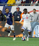 Edgar Castillo (8), Clement Bayiha (27) during New England Revolution and Montreal Impact MLS match at Gillete Stadium in Foxboro, MA on Wednesday, April 24, 2019. Montreal beat Revs 3-0. CREDIT/ CHRIS ADUAMA