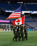 Honor Guards during New England Revolution and Montreal Impact MLS match at Gillette Stadium in Foxboro, MA on Wednesday, April 24, 2019. Montreal beat Revs 3-0. CREDIT/ CHRIS ADUAMA