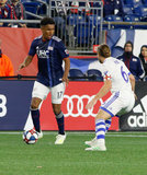 Juan Agudelo (17) during New England Revolution and Montreal Impact MLS match at Gillette Stadium in Foxboro, MA on Wednesday, April 24, 2019. Montreal beat Revs 3-0. CREDIT/ CHRIS ADUAMA