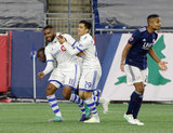 Anthony Jackson-Hamel (11) celebrates second goal with teammates during New England Revolution and Montreal Impact MLS match at Gillete Stadium in Foxboro, MA on Wednesday, April 24, 2019. Montreal beat Revs 3-0. CREDIT/ CHRIS ADUAMA